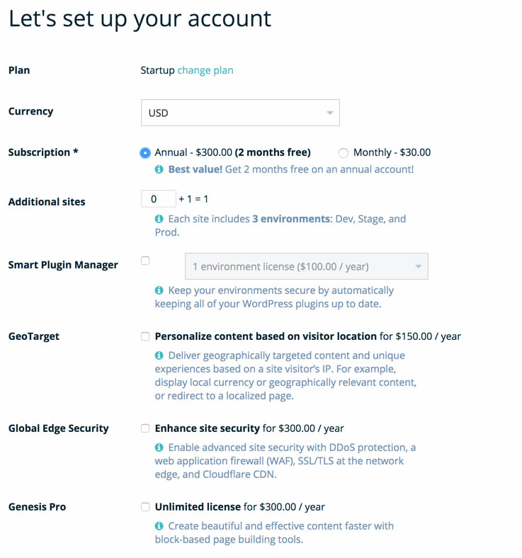 Account setup with WP Engine